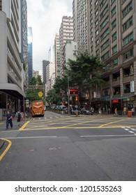 Hong Kong/China - August 12 2018: Lockhart Road in Wan Chai, Hong Kong. Wan Chai is a metropolitan area situated on the northern shore of Hong Kong Island, in Hong Kong.