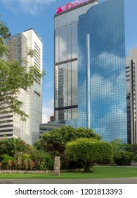 Hong Kong/China - August 12 2018: Convention Avenue in Wan Chai, Hong Kong. Wan Chai is a metropolitan area situated on the northern shore of Hong Kong Island, in Hong Kong.