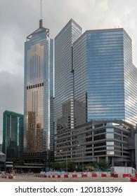 Hong Kong/China - August 12 2018: Central–Wan Chai Bypass in Wan Chai, Hong Kong. The Central–Wan Chai Bypass is a four-kilometre road running between Sheung Wan and Fortress Hill on Hong Kong Island.