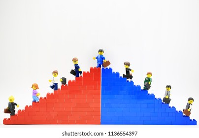 Hong KongChina, July 5 2018: Studio shot of Lego people, combine from different set in Hong Kong.Legos are a popular line of plastic construction toys manufactured by The Lego Group in Denmark