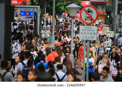 Hong Kong/China, July 5 2018: the crowd in causeway bay  in Hong Kong. The population of Hong Kong is estimated at 7.43 million in 2018