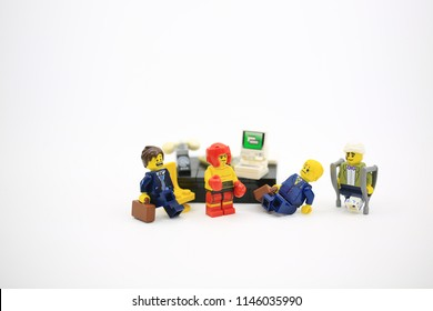 Hong Kong/China, July 5 2018: Studio shot of Lego people, combine from different set in Hong Kong.Legos are a popular line of plastic construction toys manufactured by The Lego Group in Denmark