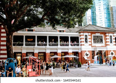 Hong Kong,China July 5, 2019  The Parade Grounds at Tai Kwun Centre for Heritage and Arts is located in the former Central Police Station compound in Hong Kong