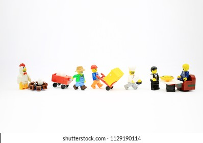 Hong Kong/China, June 25 2018: Studio shot of Lego people, combine from different set in Hong Kong.Legos are a popular line of plastic construction toys manufactured by The Lego Group in Denmark