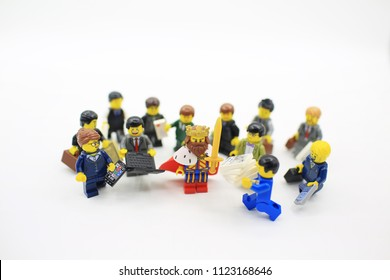Hong Kong/China -May 2 2018:lego minifigure with the set of city lego in hong kong . Legos are a popular line but of plastic construction toys manufactured by The Lego Group in Denmark