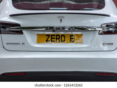 """Hong Kong/China - October 27, 2017: Tesla  Model S with license plate that reads """"ZERO E"""" for zero emissions."""