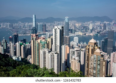 Hong Kong/China - October 27, 2017: Classic view of Hong Kong from Victoria Peak with local landmarks and tall skyscrapers visible
