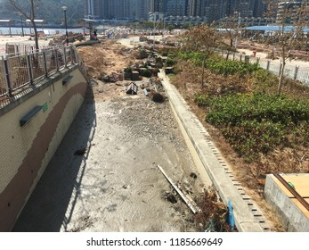 Hong Kong/China- September 18  2018: after 2018 typhoon mangkhut came to 16 sept, the coastal is mess in  hong kong , typhoon mangkhut will be one of the strongest typhoon in 2018