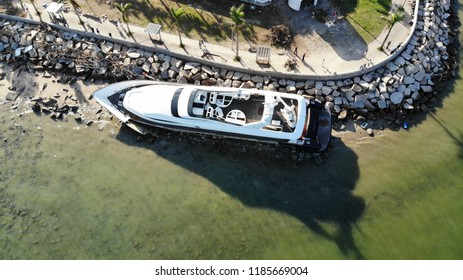Hong Kong/China- September18 2018: after 2018 typhoon mangkhut came to 16 sept, the yacht is grounded on the coast in  hong kong , typhoon mangkhut will be one of the strongest typhoon in 2018