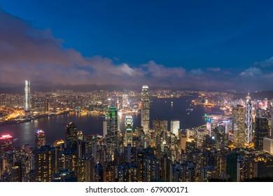 Hong Kong,China,16-July-2017,viewpoint sunset at victoria park,Hong Kong.