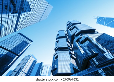 Hong kong,China-January, 26,2015:low angle view of skyscrapers in Hong kong.