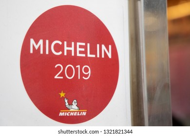 HONG KONG,HONG KONG - FEBRUARY 24: View of Michelin Star 2019 Sticker on the Restaurant Mirror on February 24, 2019