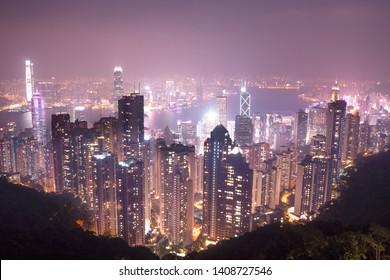 Hong kong/Hong Kong-29.11.2017:The skyscrapers of Hong Kong city