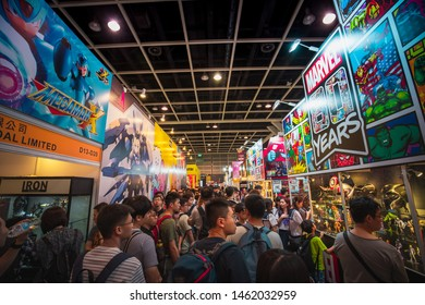 Hong Kong-June 26, 2019 : Hong Kong E-Sports & Music Festival in first day, crowded gaming fans visit the festival in Hong Kong Convention and Exhibition Centre