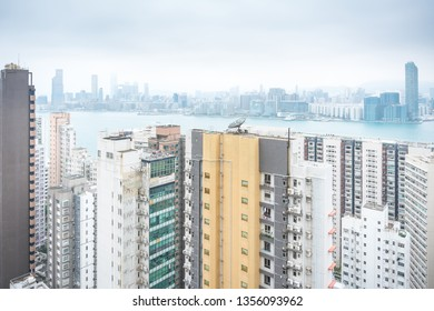Hong Kong,March 24,2019:view of skyscrapers and the bay of Hong Kong during a hazy day