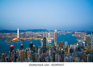 HONG KONG-November 01 : View of Hong Kong from Victoria Peak in Hong Kong, China. on November 01, 2015 in Hong Kong, China.