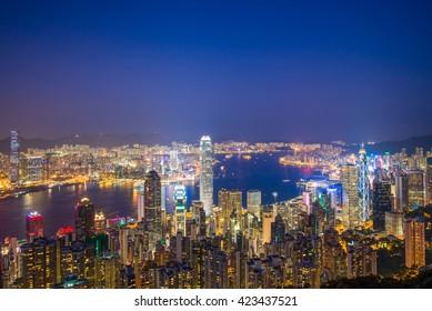 HONG KONG-November 01 : View of Hong Kong from Victoria Peak at night on November 01, 2015 in Hong Kong, China.