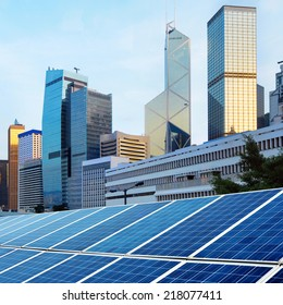Hong Kong's modern architecture and solar panels