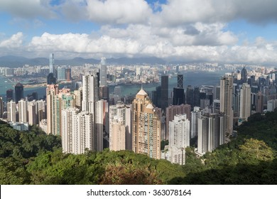 Hong Kong's skyline viewed from the Victoria Peak in daylight.