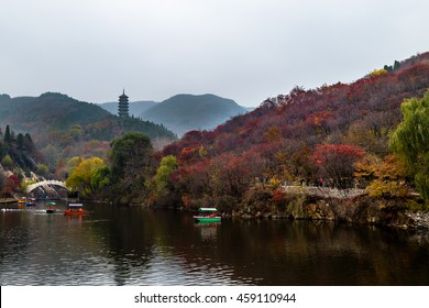 Hong Ye Gu, or Red leaf valley in Autumn, located near Jinan, is one of the 10 new famous tourist attractions of Shandong province, China