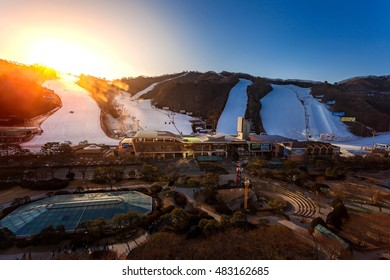 HONGCHEON, SOUTH KOREA - MARCH 7: Sun rise morning at Vivaldi Park Ski World in Hongcheon city, Gangwon Province, South Korea on March 7, 2014.