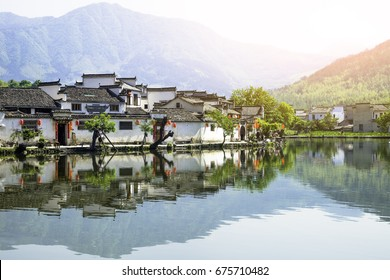 Hongcun village scenery in Huangshan, Anhui, China. The village is an ancient village. It is located near Mount Huangshan. Hongcun is a famous historical village in China, UNESCO heritage site.