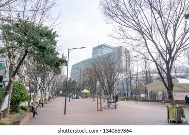 Hongdae childrens playground park. Hongdae is a famous shopping and clubbing district in Seoul, South Korea. Taken on March 17th 2019. Seoul, South Korea