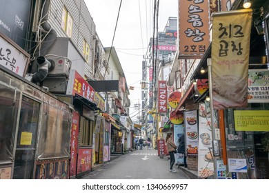 Hongdae gopchang street lined up with various restaurants and bars. Hongdae is a famous shopping and clubbing district in Seoul, South Korea. Taken on March 17th 2019. Seoul, South Korea