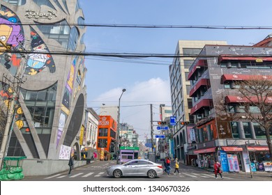 Hongdae Sangsangmadang building and street lined up with various establishments. Hongdae is a famous shopping and clubbing district in Seoul, South Korea. Taken on March 17th 2019.
