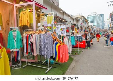HONGDAE , SEOUL, KOREA , APRIL 2013 : People at Hongdae Street, Seoul, Korea on April 1 2013. Hongdae Street is the famous shopping street close to Hongik University.