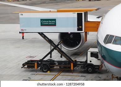 Hongkong airport,hongkong-December 6,2018: Close up Plane cathay pacific airline stop in gate hongkong international airport at hongkong.