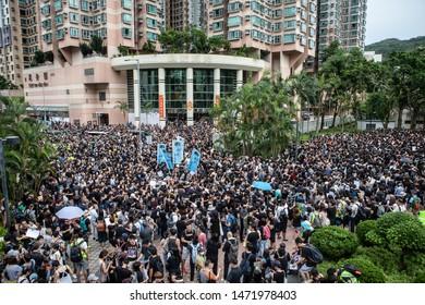 HONGKONG, HONGKONG - August 4th, 2019; Impressions of a protest march in Metro City, East Hongkong.