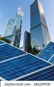 hongkong Bund skyline landmark ,Ecological energy renewable solar panel plant