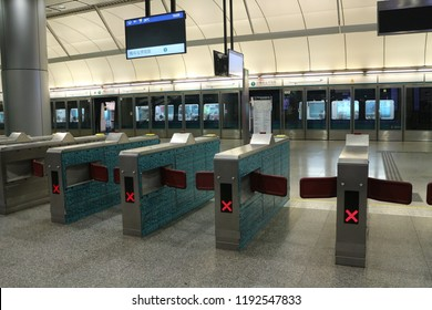 HONGKONG / CHINA - AUGUST 11, 2018: In Hongkong, MTR is the main transportation which connects cities to the airport