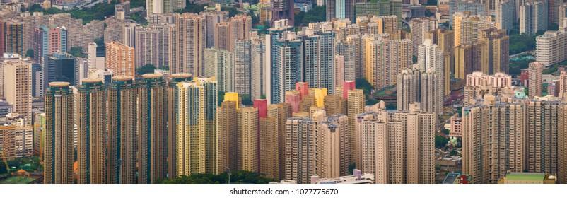 Hong-Kong, CHINA - Jul 01 2017: Panoramic view on apartment district, Hong Kong, China