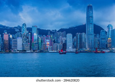 Hongkong, China- June 2, 2015: Victoria Harbour, a nature landform harbour situated between Hong Kong Island and Kowloon in Hong Kong