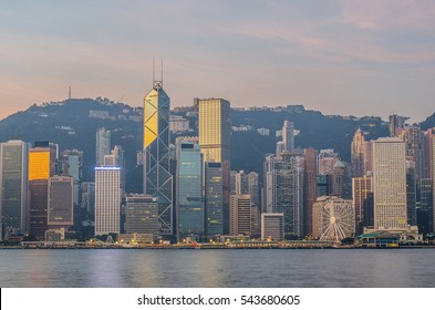 Hongkong China from Kowloon side across from Victor Harbor, Hong Kong Special Administrative Region of the People's Republic of China.