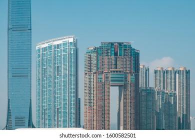 HongKong, China -November, 2019: Modern skyscraper buildings, West Kowloon, HongKong -