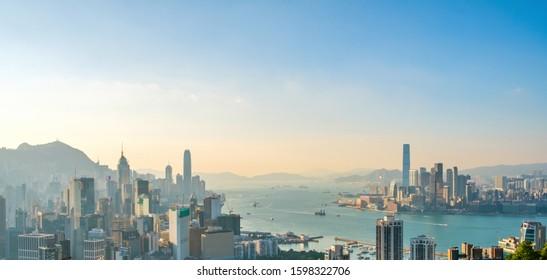 HongKong, China - November 2019: Skyscraper city Skyline, aerial  of Hong Kong City