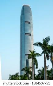 HongKong, China - November, 2019: Two International Finance Centre skyscraper building in HongKong, Central.
