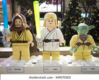 Hongkong, China - November 26, 2015 : Big size of Luke Skywalker, Obi-Wan and Yoda Lego character at the front of Time square shoppong mall, Causeway Bay at night, Hongkong