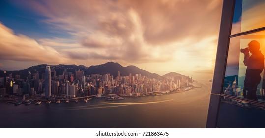 Hongkong city skyline the center of bissiness in Asia, Hongkong Night, Hongkong Sunset, island in China