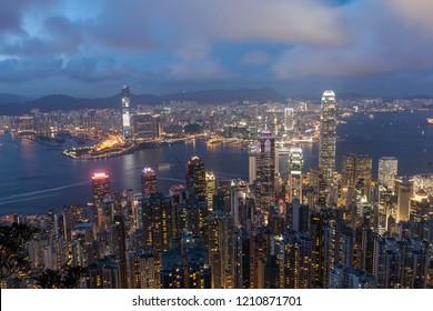 Hongkong city skyline, city night scenery