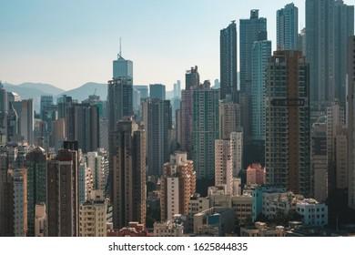 HongKong city skyline, skyscraper buildings of Hong Kong Island,