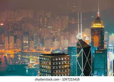 Hongkong city skyline from victoria peak at night