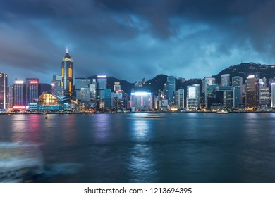 Hongkong city skyline, Vitoria harbour night scenery