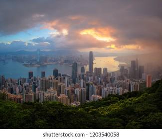 Hongkong cityscape at sunrise time