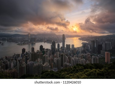 Hongkong cityscape sunrise from top of building