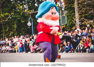 Hongkong disneyland and parade show . hongkong 21 March 2018