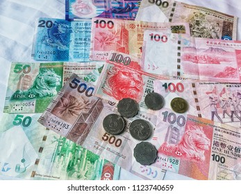 Hongkong dollars cash money mix banknotes and coins, Hong kong HKD currency for financial and business.